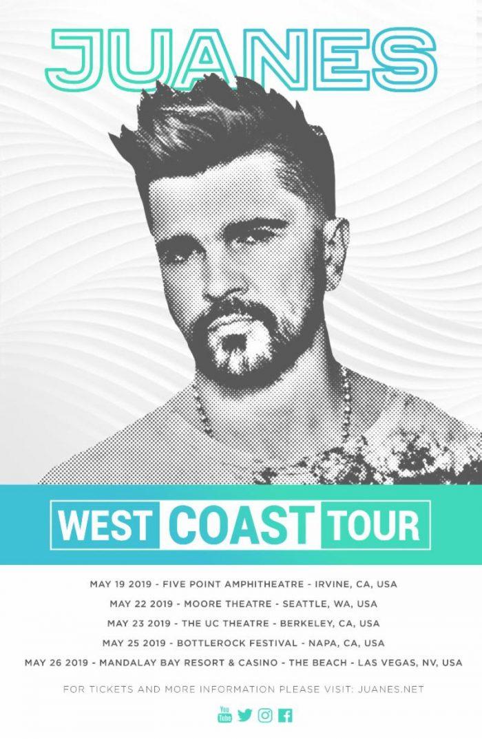 Juanes estrenara gira en la Costa Oeste